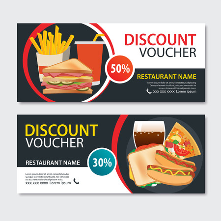Discount voucher fast food template design. Set of pizza, sandwich, french fries, hot dog