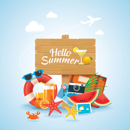 A hello summer time travel season banner design and colorful beach elements in background.