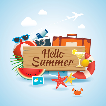 hello summer time travel season banner design and colorful beach elements in background. Иллюстрация