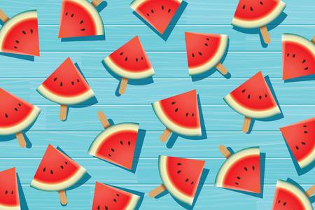 summer diet: Watermelon slice on blue wooden. Summer time background banner.