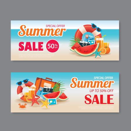 Summer sale voucher background template. Discount coupon. Banner season elements flat design. Vettoriali