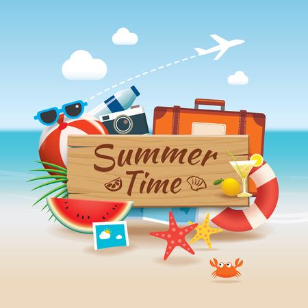 Sommerzeithintergrundfahnen-Designschablone und Holzschildjahreszeit-Elementstrand