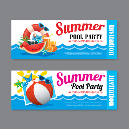 beach sunset: summer pool party invitation ticket template background Illustration