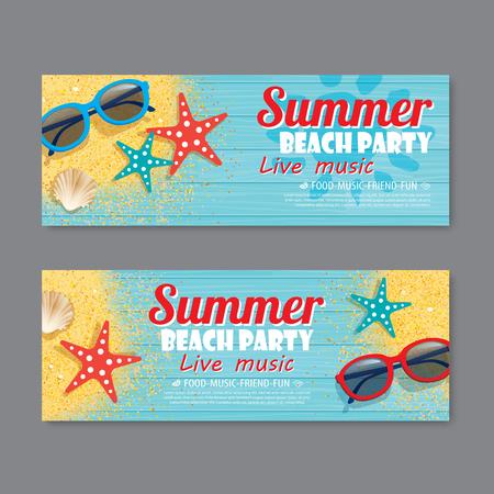 summer beach party invitation ticket template background 免版税图像 - 79889031