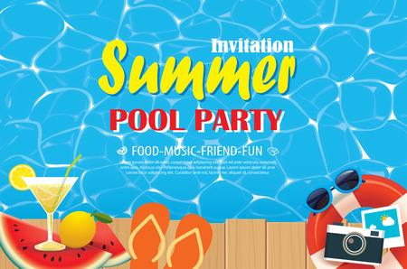Cartel de la invitación de la fiesta en la piscina con agua azul y de madera. Vector ilustración de verano. Foto de archivo - 80791666