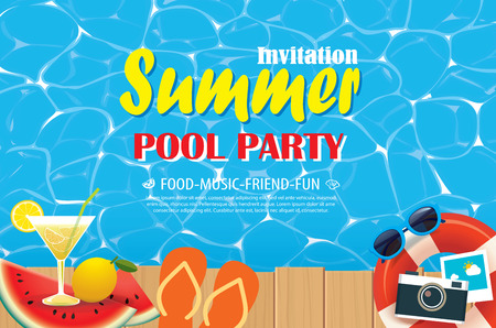 Pool party invitation poster with blue water and wooden. Vector summer illustration.