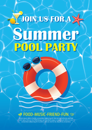 music background: Pool party invitation poster with blue water. Vector summer background. Illustration