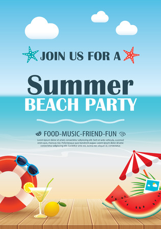 Beach party invitation poster with vacation element wooden and blue water. Vector summer background. 일러스트