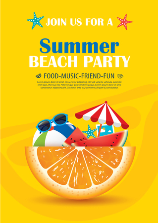 Beach party invitation poster with vacation element . Vector summer background.