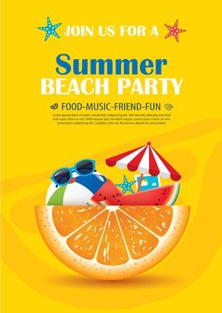 Uitnodiging poster van het strand partij met vakantie element. Vector zomer achtergrond.