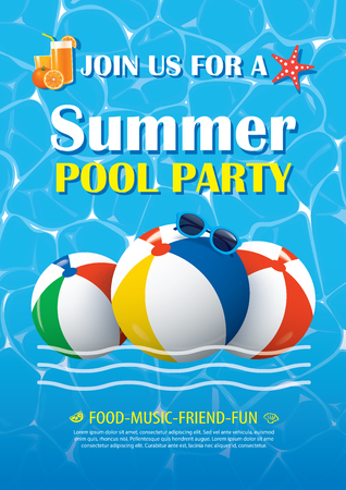 Pool party invitation poster with blue water. Vector summer background. Illustration