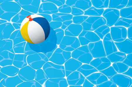 inflatable ball: beach ball floating in a blue swimming pool. Summer background.