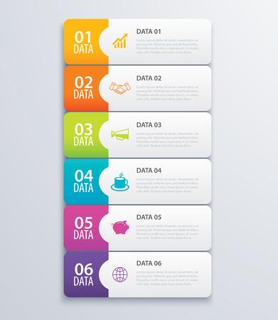 6 scheda infografica indice banner design vettore e modello di marketing business. Può essere utilizzato per layout del flusso di lavoro, diagramma, rapporto annuale, web design. Concetto di business con processi di gradi.