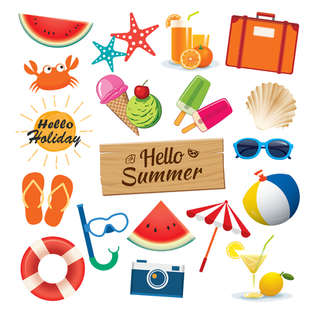 Summer sticker icon set flat design. Can be used for banner, badges, symbol, element isolated background