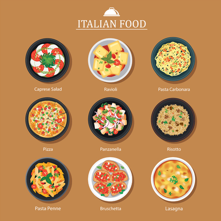 Set of italian food flat design