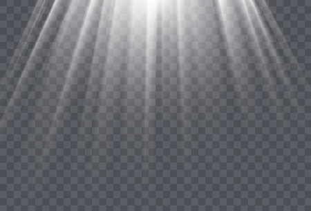 White sun rays and glow light effect Vector illustration.