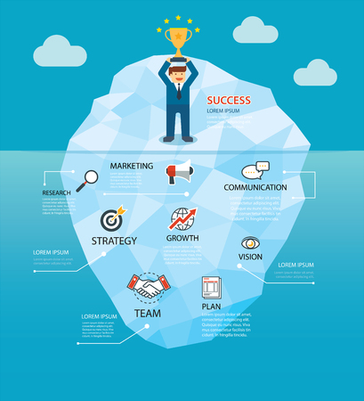 Behind the success business of the iceberg concept background