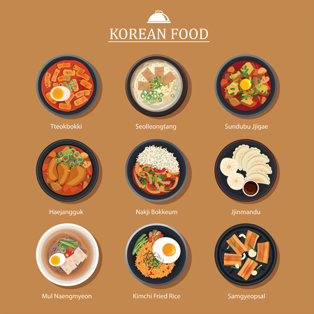 韓国料理フラットなデザインのセットです。アジアのストリート フード イラスト背景。