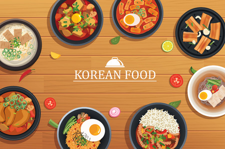 korean food on a wooden table background. Vector illustration top view.