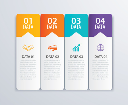 4 infographic tab index banner design vector and marketing template business. Can be used for workflow layout, diagram, annual report, web design. Business concept with steps processes. Stok Fotoğraf - 84713809