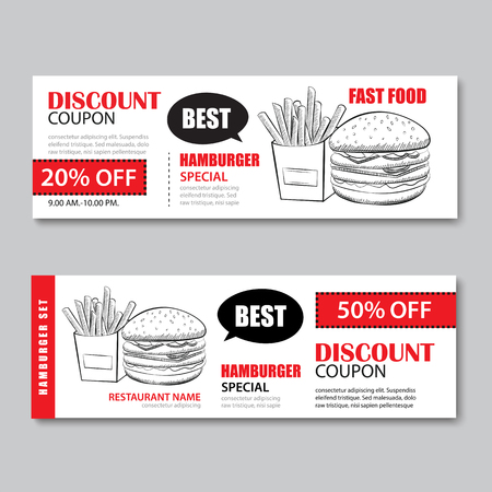 fast food gift voucher and coupon sale discount template flat