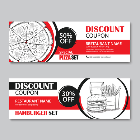 Fast Food Gift Voucher And Coupon Sale Discount Template Flat ...