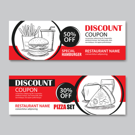Fast food gift voucher and coupon sale discount template flat design. Vector set of hamburger, french fries, sandwich, pizza  hand drawn background.