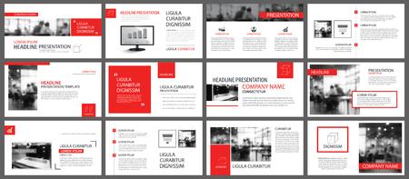 Czerwony i biały element infografiki slajdów na tle. Szablon prezentacji. Używaj do rocznego raportu biznesowego, ulotki, marketingu korporacyjnego, ulotki, reklamy, broszury, nowoczesnego stylu. Ilustracje wektorowe
