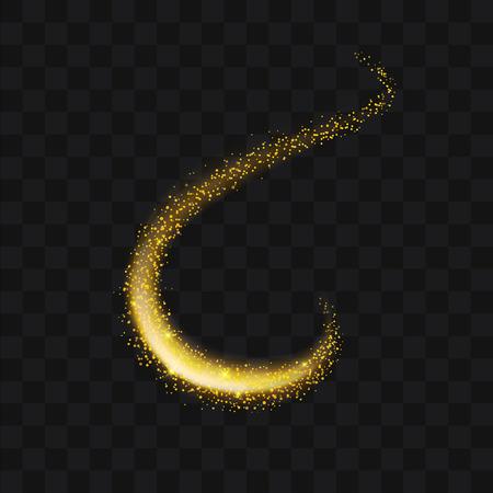 Oro brillante trail sparkling stardust partículas abstractas sobre fondo. Úselo para su elemento de producto. Ilustración de vector