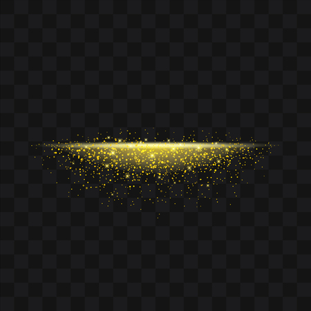 Gold glittering trail sparkling stardust abstract particles on background. Use for your product element.