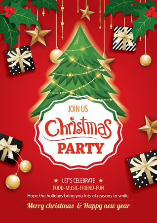 Merry christmas party and tree on red background invitation theme concept. Happy holiday greeting banner and card design template. Vectores
