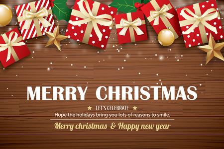 Merry christmas poster background design template. Typography and gift box on brown wooden.