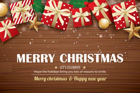 plantilla de diseño de fondo de cartel de feliz navidad . tipografía y caja de regalo en la madera marrón