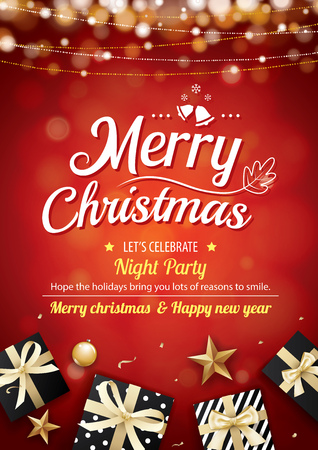 Merry christmas party light and gift box for brochure design on red background invitation theme concept. Happy holiday greeting banner and card template.