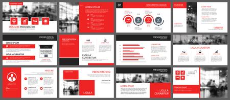 Élément rouge et blanc pour la diapositive info-graphique sur le fond. Modèle de présentation. Utilisez pour le rapport annuel des entreprises, dépliant, marketing d'entreprise, dépliant, publicité, brochure, style moderne. Vecteurs