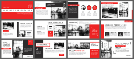 Red presentation templates and info-graphics elements background. Use for business annual report, flyer, corporate marketing, leaflet, advertising, brochure, modern style.