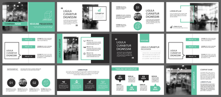 Green and white element for slide info-graphic on background. Presentation template. Use for business annual report, flyer, corporate marketing, leaflet, advertising, brochure, modern style.