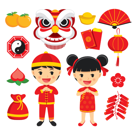 Happy chinese new year decoration traditional symbols set with characters and icons elements isolated on white background. Illustration