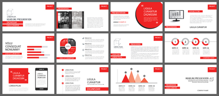 Red presentation templates for slide show background. Infographic elements for business annual report, flyer, corporate marketing, leaflet, brochure and banner.