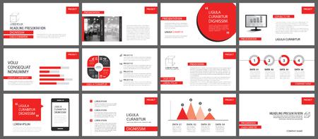 Modèles de présentation rouge pour l'arrière-plan du diaporama. Éléments d'infographie pour rapport annuel d'entreprise, dépliant, marketing d'entreprise, dépliant, brochure et bannière.