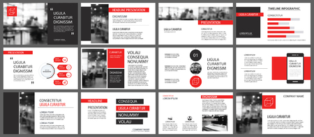 Red presentation templates for slide show background. Infographic elements for business annual report, flyer, corporate marketing, leaflet, brochure and banner. Stock fotó - 95297626