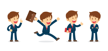Set of businessman working character design. Flat office cartoon illustration isolated background.