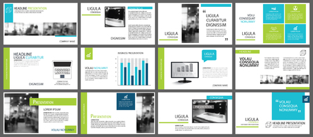 Blue and green element for slide infographic on background. Presentation template. Use for business annual report, flyer, corporate marketing, leaflet, advertising, brochure, modern style. Vettoriali