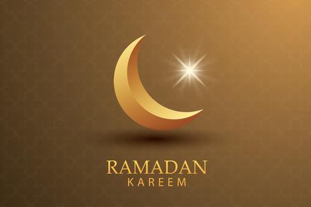 Ramadan Kareem greeting card paper art gold background. Eid Mubarak moon and stars banner illustration design. Use for Islamic flyer, poster, brochure, sale.