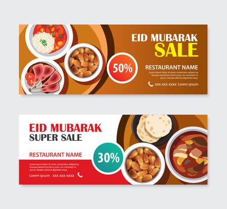 Eid Mubarak sale banner voucher with food background. Ramadan Kareem vector illustration. Use for cover, poster, flyer, brochure, label, coupon emplate.