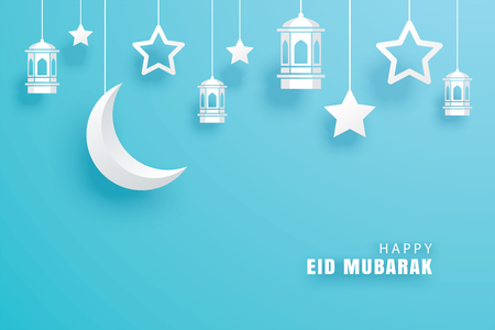 Happy Eid Mubarak greeting card with crescent moon paper art background. Ramadan Kareem vector illustration. Use for banner, poster, flyer, brochure template. Illustration