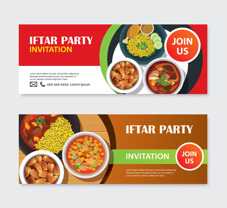 Iftar party invitations greeting card and banner with food background. Eid Mubarak vector illustration. Use for cover, poster, flyer, brochure, label, voucher, sale template. Vectores