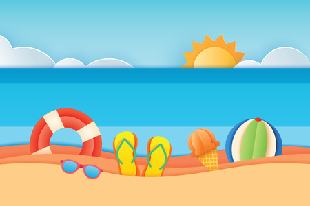 Summer time sea view with equipment placed on the beach and sky background. Paper art and craft style. Vector illustration of life ring, sunglass, ice cream, beach ball, sandals. Ilustração