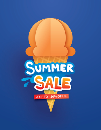 Summer sale poster with ice cream cone on blue background. Paper art and craft style.