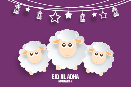 Eid Al Adha Mubarak celebration card with sheep in paper art purple background. Use for banner, poster, flyer, brochure sale template. Vector Illustration